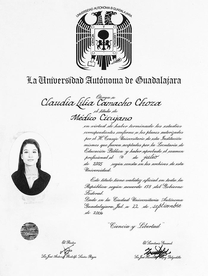 Ajijic ophthalmologic doctor certificate