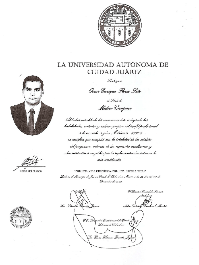 Cancun Fertility doctor certificate