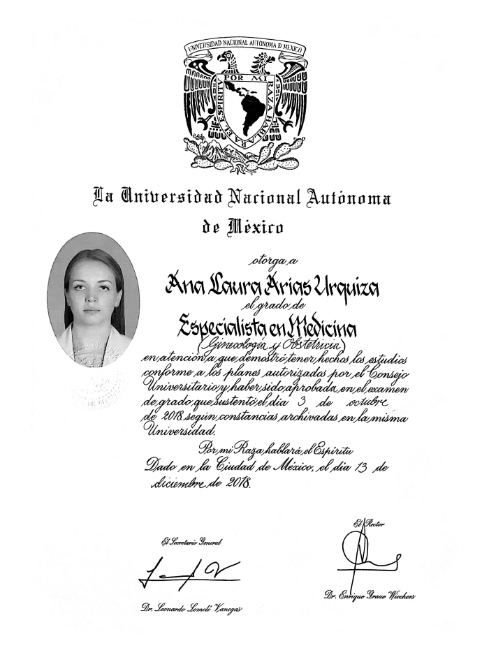 Cancun Gynecologist doctor certificate