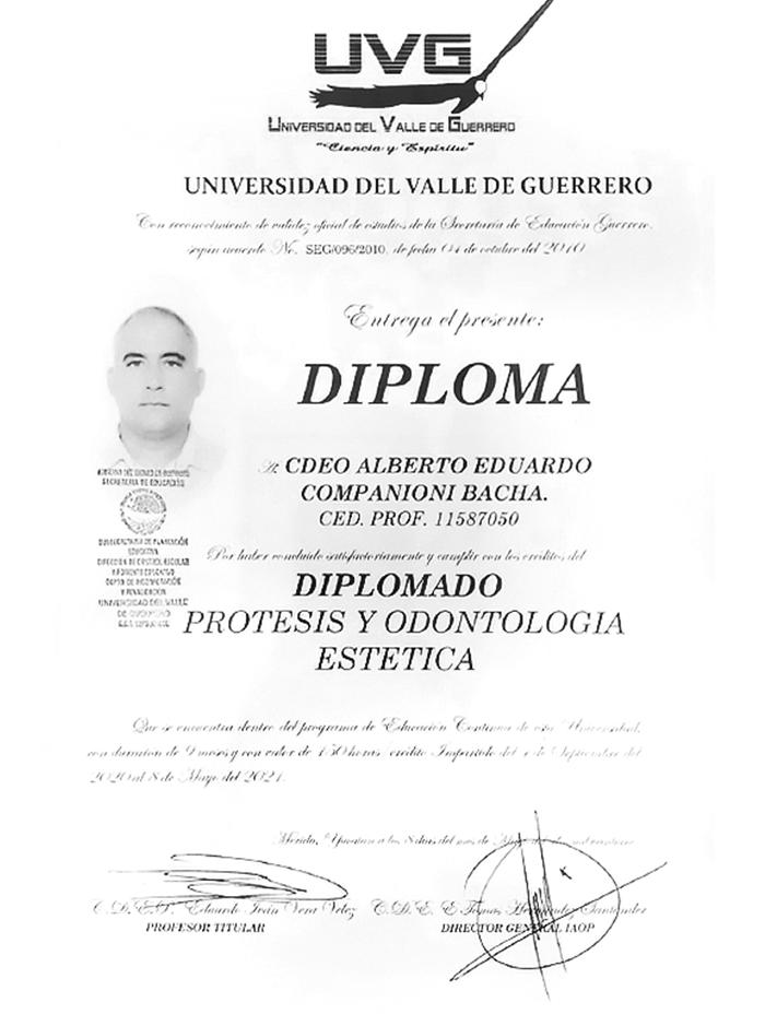 Cancun dentist certificate