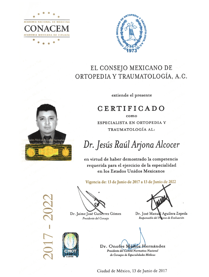 Cancun orthopedist doctor certificate