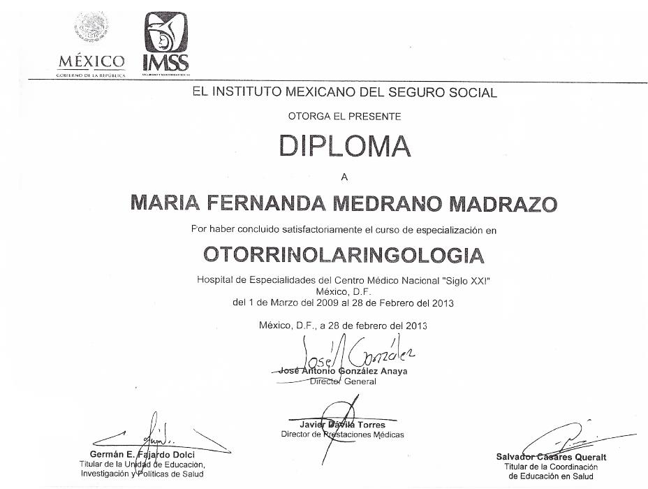 Cancun ENT certificate