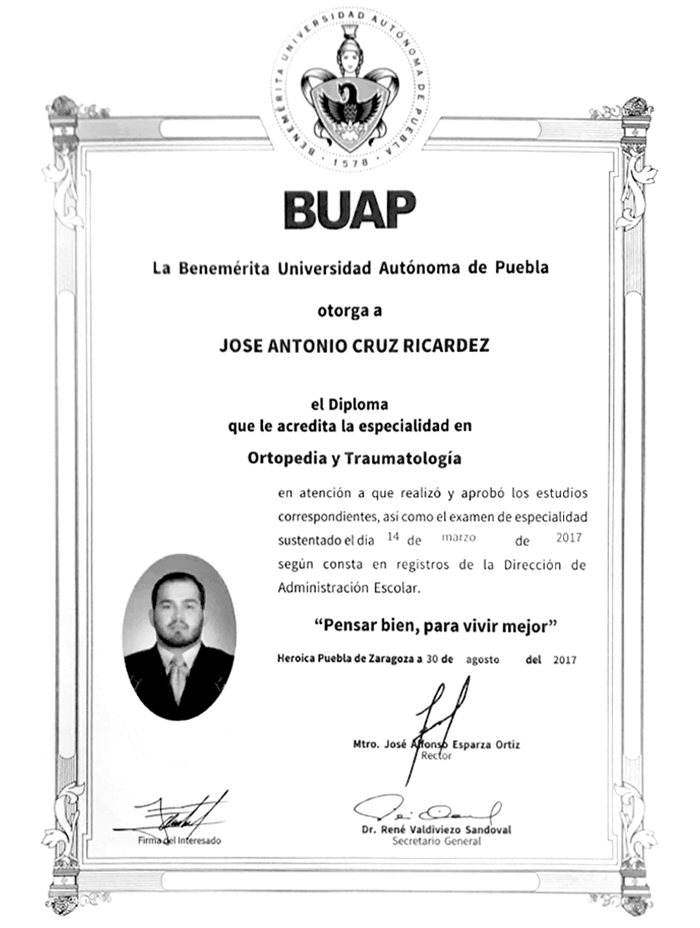 Chiapas orthopedist doctor certificate
