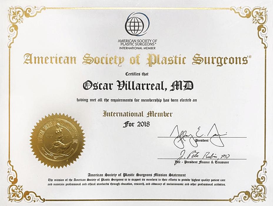 Ciudad Juarez plastic surgery doctor certificate