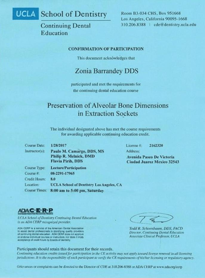 Ciudad Juarez dentist certificate