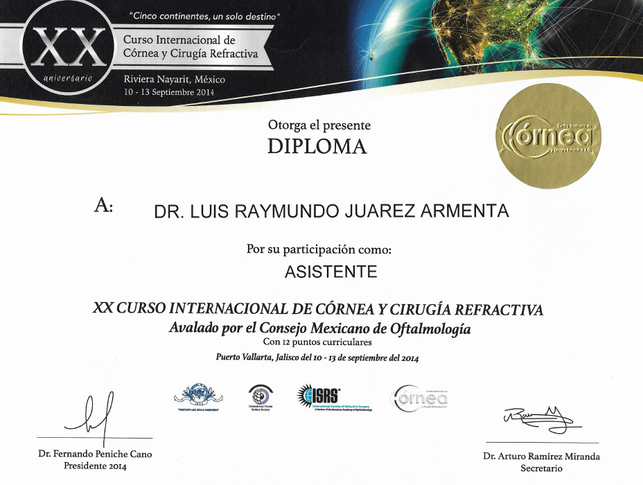 Juarez ophthalmologic doctor certificate