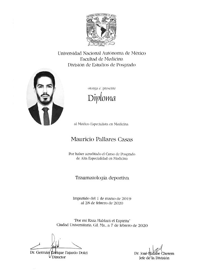 Ciudad Juarez orthopedist doctor certificate