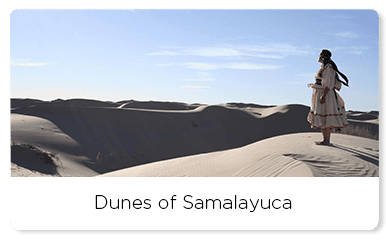 Raramuri starring to the sand dunes in samalayuca