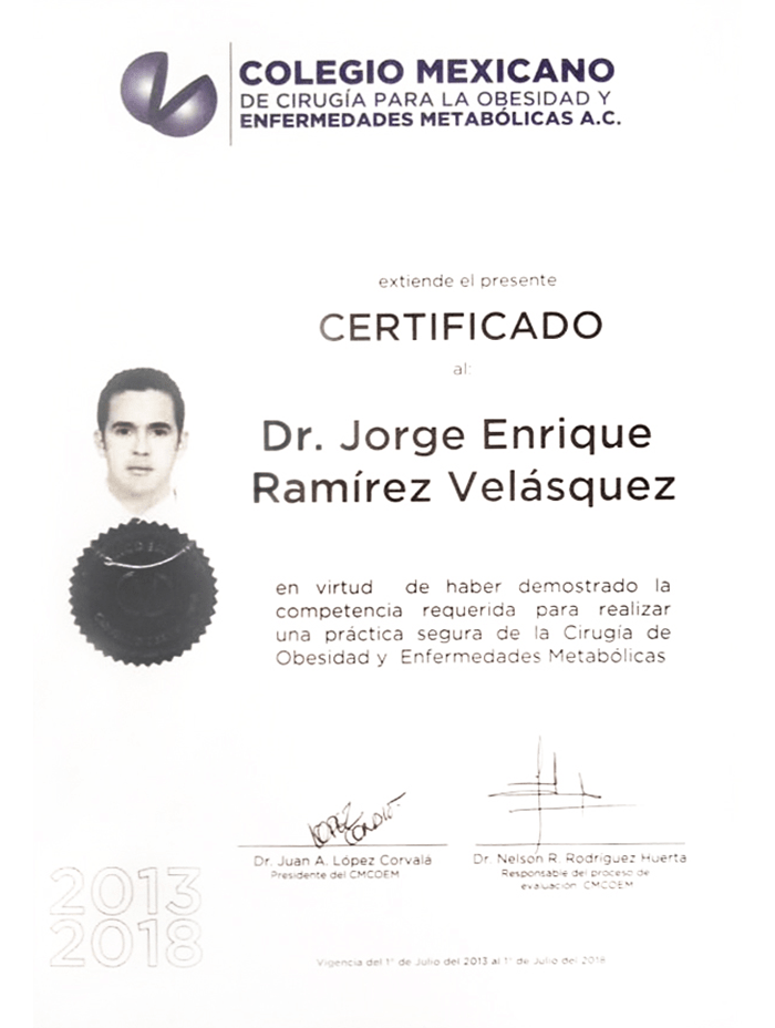 Mexico City bariatric doctor certificate