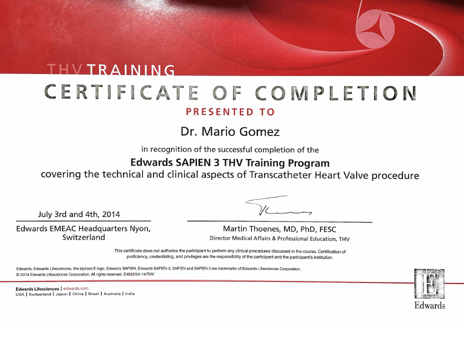 Mexico City Cardiology doctor certificate