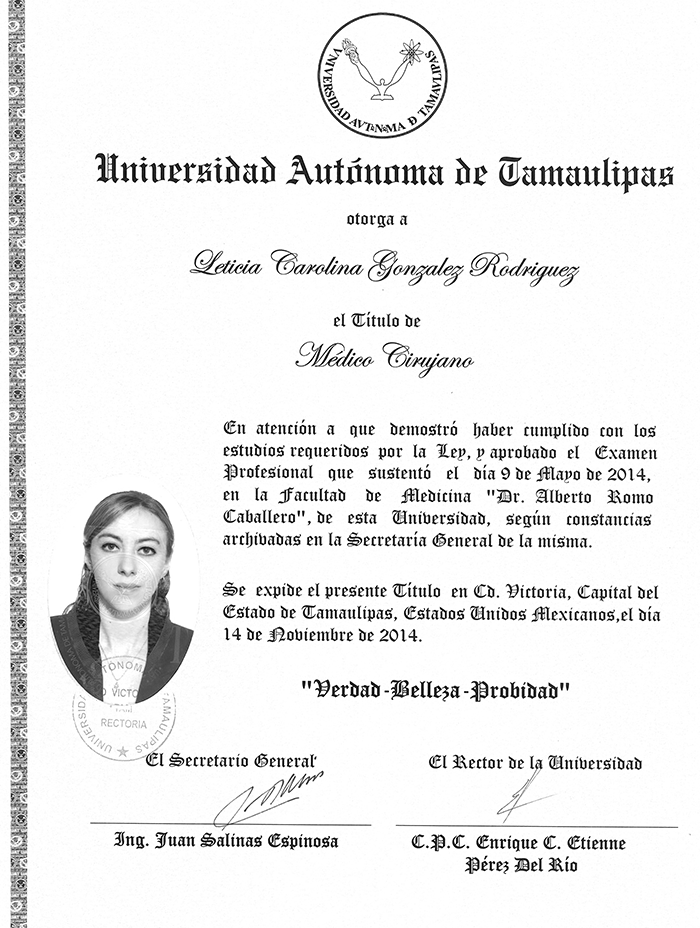 Mexico City ophthalmologic doctor certificate