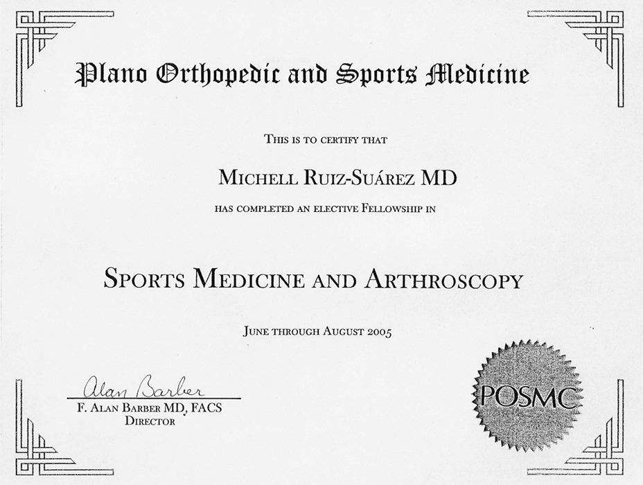 Mexico City orthopedist doctor certificate