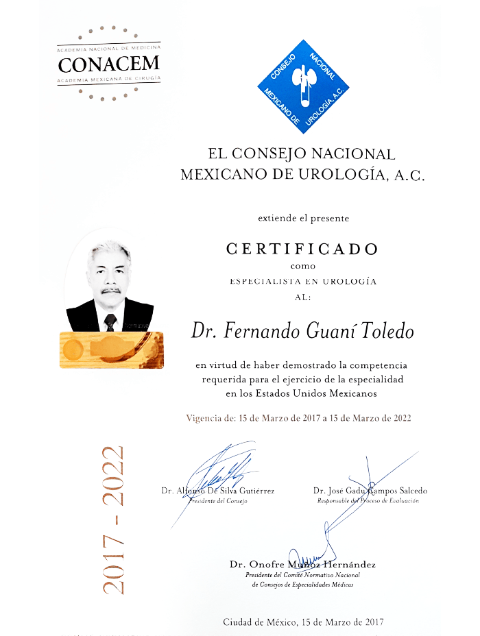 Mexico City Urologist doctor certificate