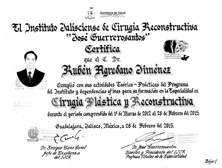 Guadalajara plastic surgeon doctor certificate