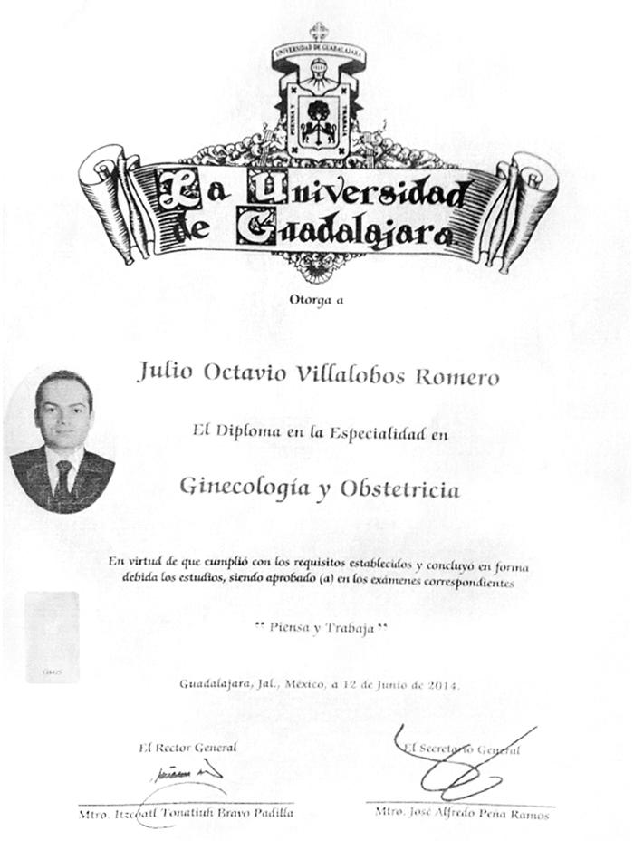 Guadalajara gynecology doctor certificate
