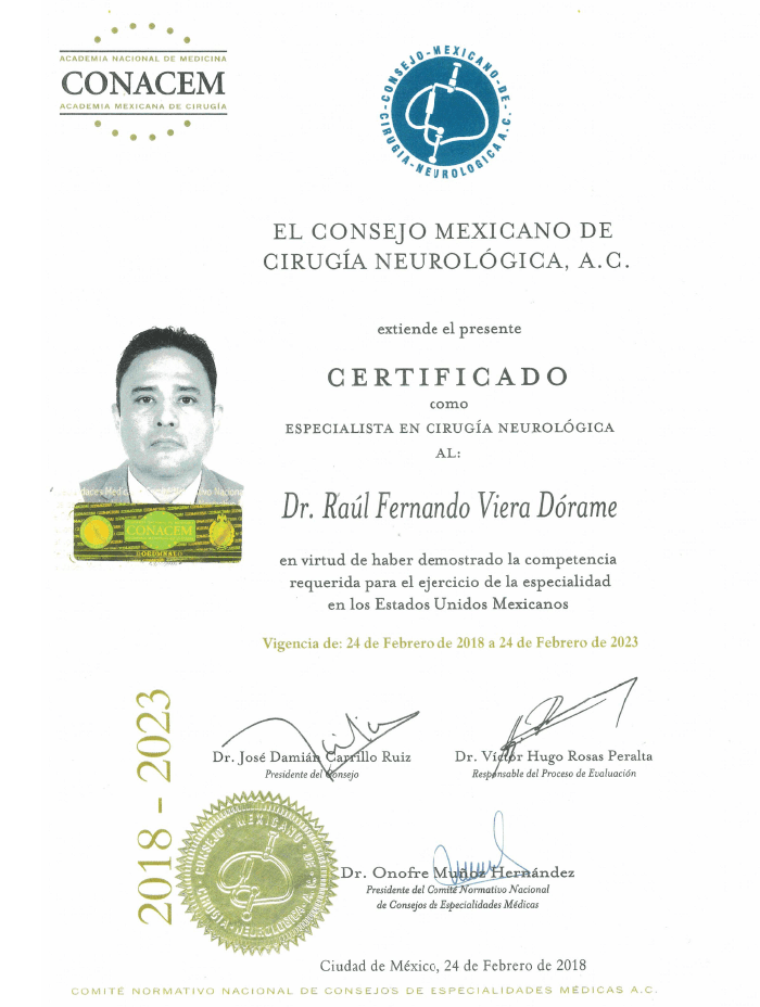 Guadalajara Neurosurgeon certificate