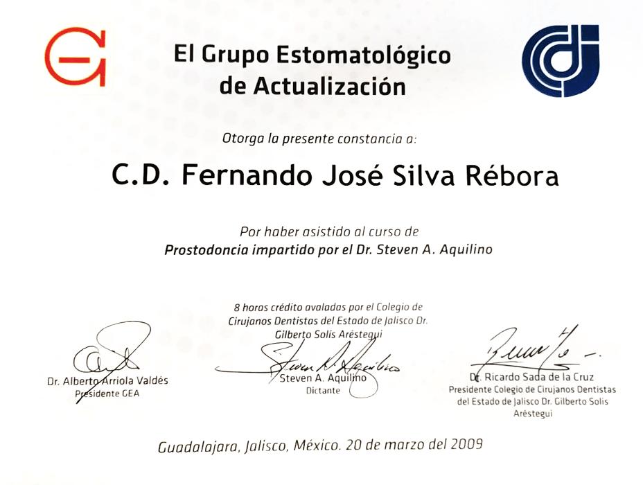 guadalajara dentist certificate