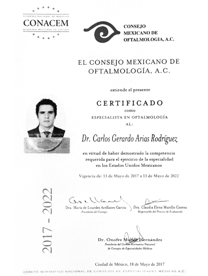 Guadalajara ophthalmologic doctor certificate