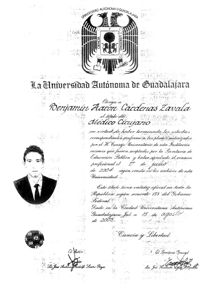 Guadalajara Urologist doctor certificate