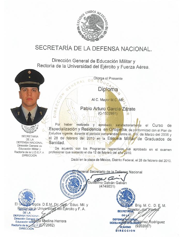 Guadalajara orthopedist doctor certificate