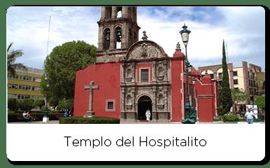 Front view of Templo del Hospitalito