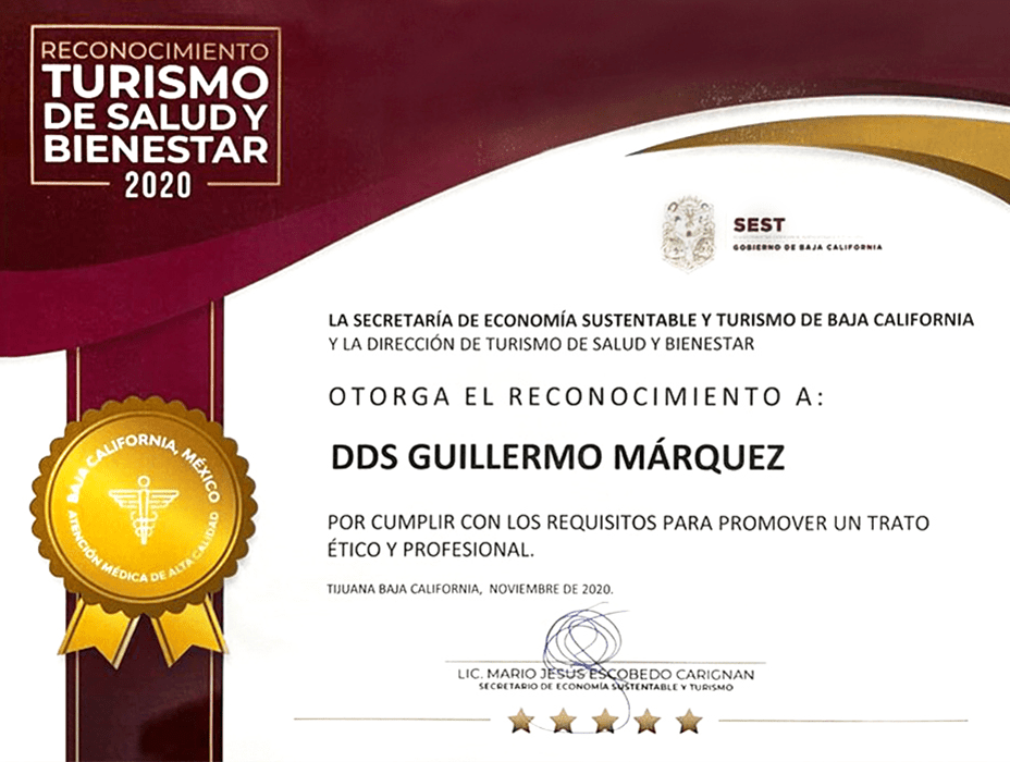 Los Algodones dentist certificate