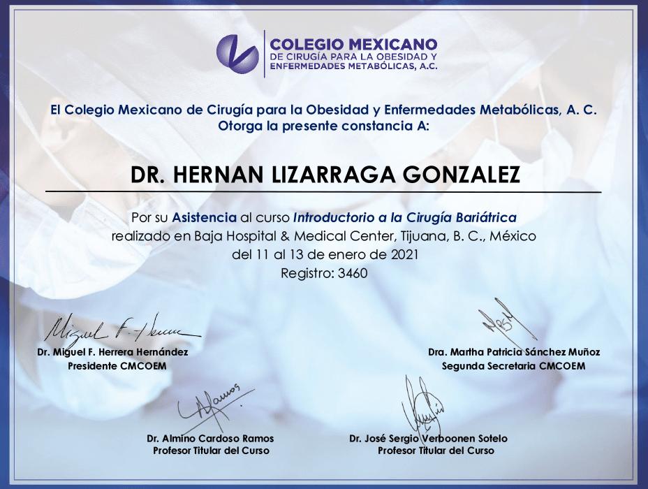 Mazatlan bariatric doctor certificate