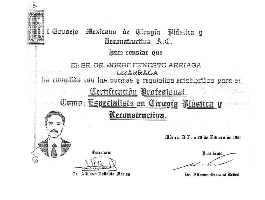 Mazatlan plastic surgery doctor certificate
