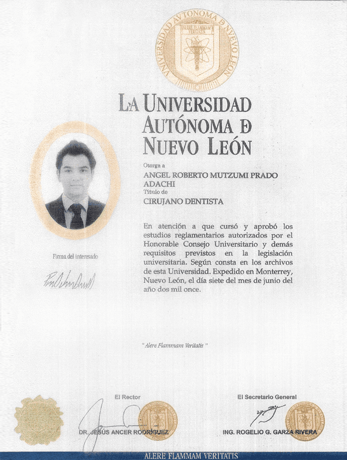 Mazatlan maxillofacial doctor certificate