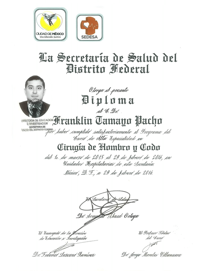 Merida orthopedist doctor certificate