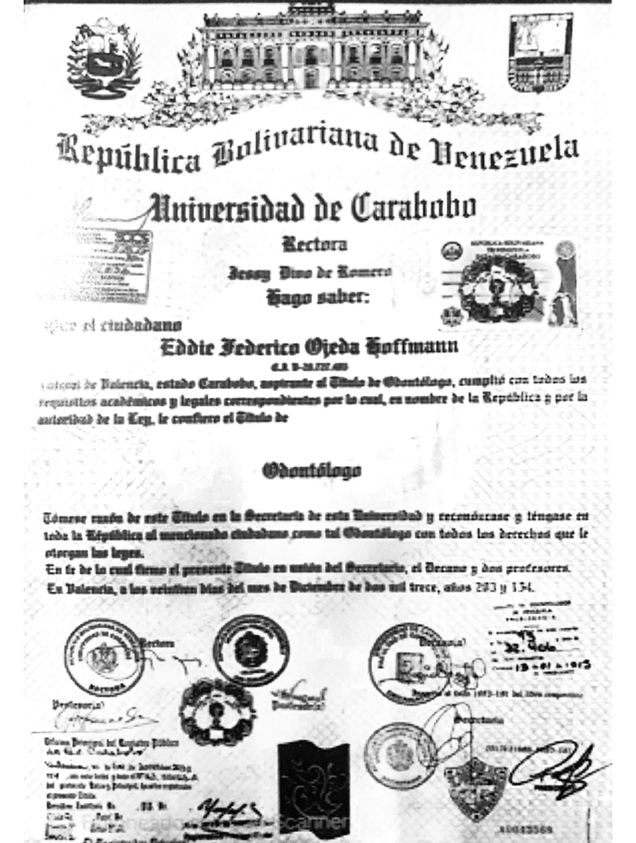 Mexicali dentist doctor certificate