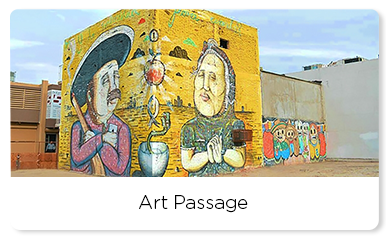 Mural representing Mexican culture with a man and a woman