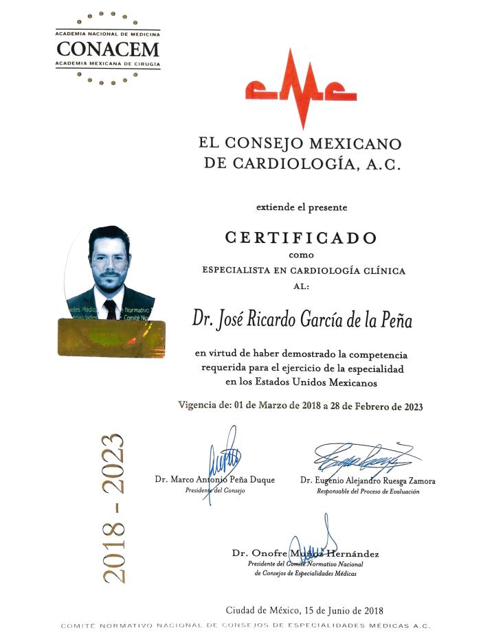 Monterrey Cardiologist certificates