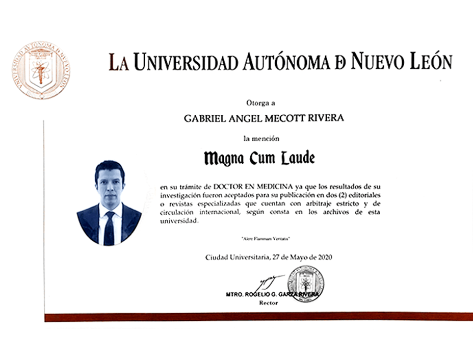 Monterrey plastic surgeon doctor certificate