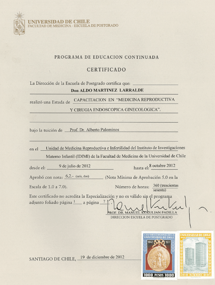 Monterrey Fertility doctor certificate