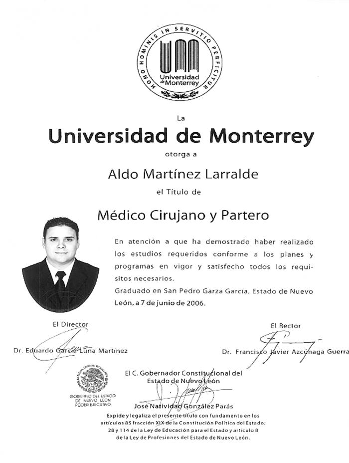 Monterrey Gynecologist doctor certificate