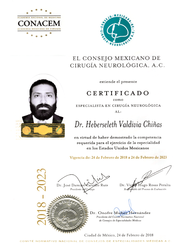 Monterrey Neurosurgeon certificate