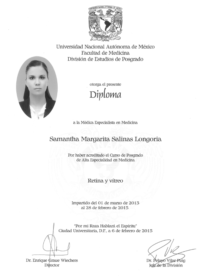 Monterrey ophthalmologic doctor certificate