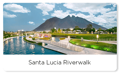 River walk with the view of The Cerro de la Silla in the back