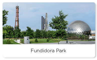 Fundidora park with a brilliant sphere