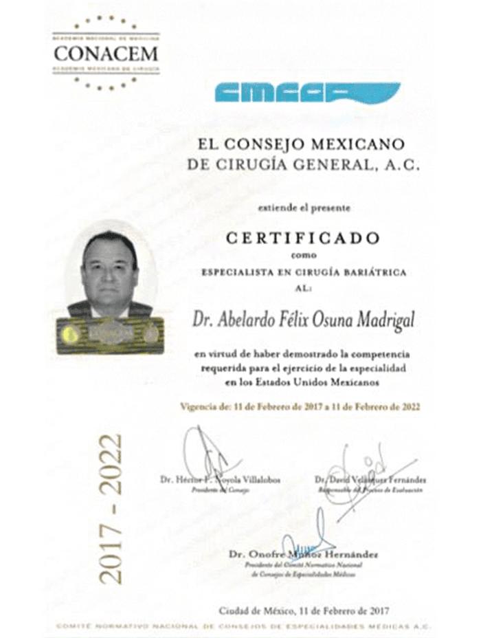 Nuevo Laredo bariatric doctor certificate