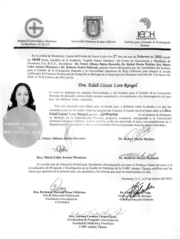 Nuevo Laredo Gynecologist doctor certificate