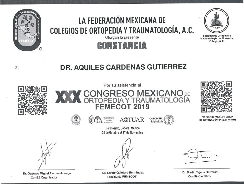 Nuevo Laredo orthopedist doctor certificate