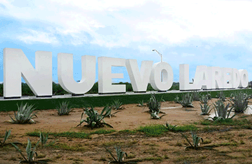 Letter sign with Nuevo Laredo name