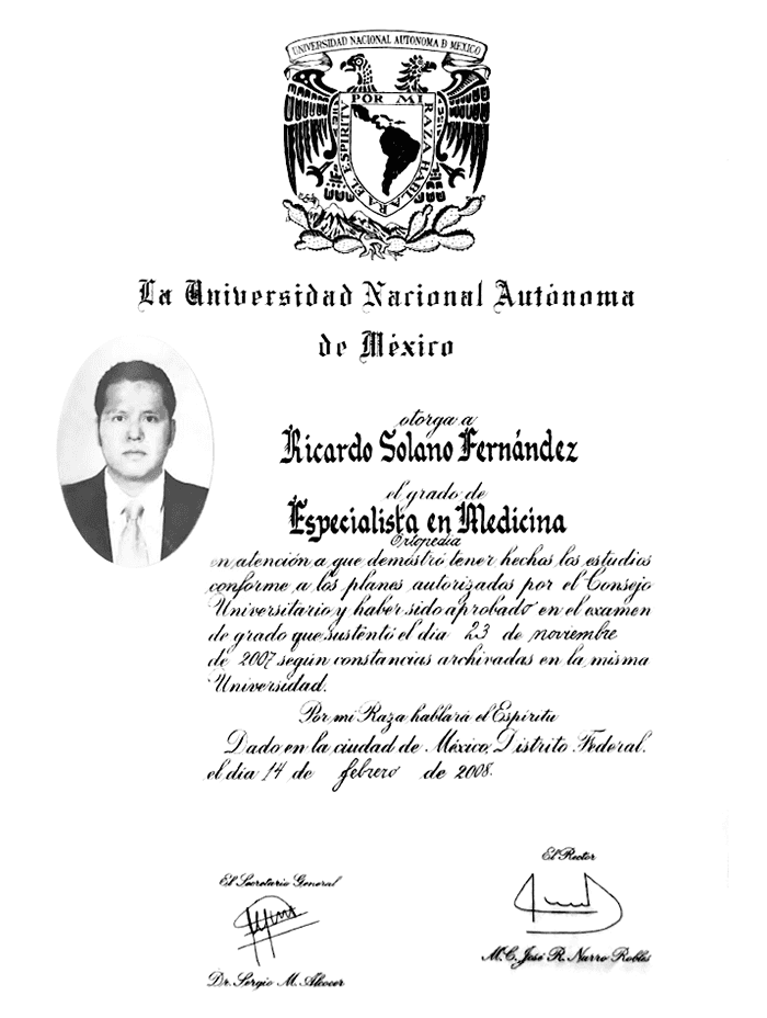 Oaxaca orthopedist doctor certificate