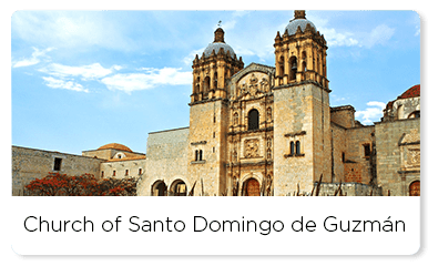 Church of Santo Domingo under a blue bright sky