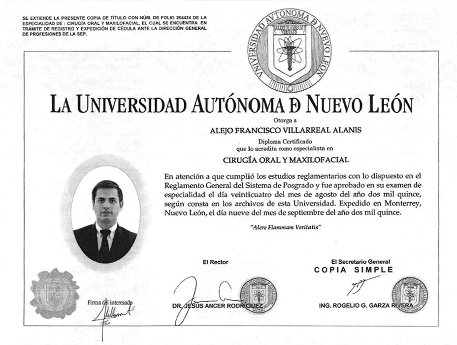 Piedras Negras maxillofacial doctor certificate
