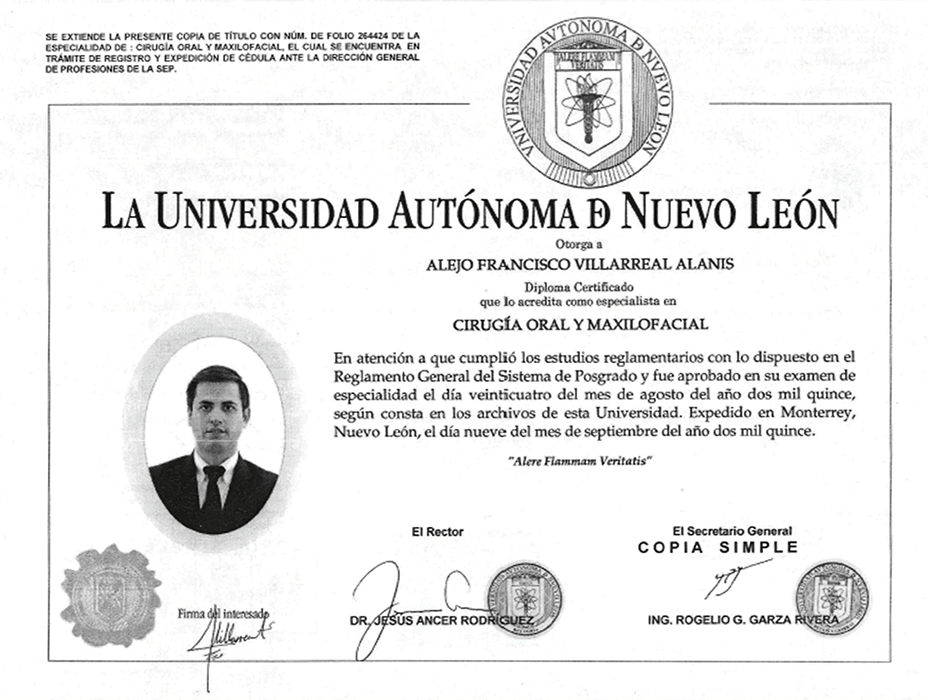 Piedras Negras dentist certificate
