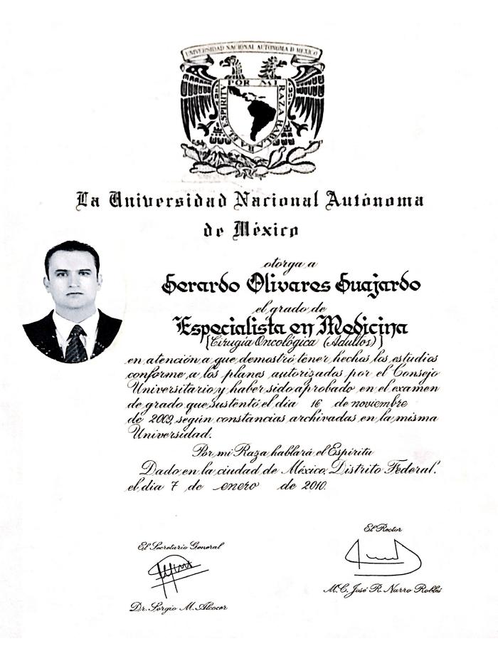 Piedras Negras Oncologist doctor certificate