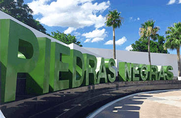 Letter sign with Piedras Negras name